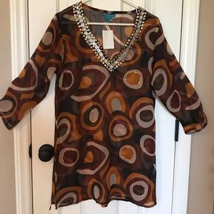NWT Med - Brown/black swimsuit coverup w/sequins.